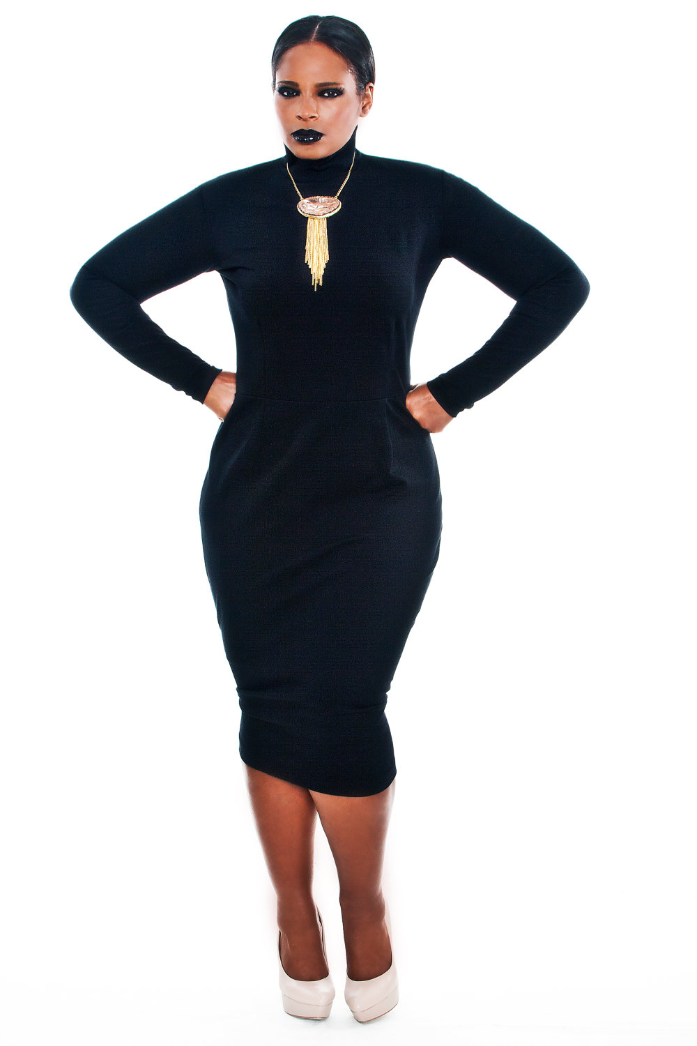 Darts in just the right places! JIBRI Plus Size Mock Neck Pencil ...