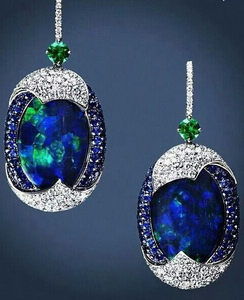 Black Opals birthstone jewelry, emeralds and diamonds earrings by Leviev.