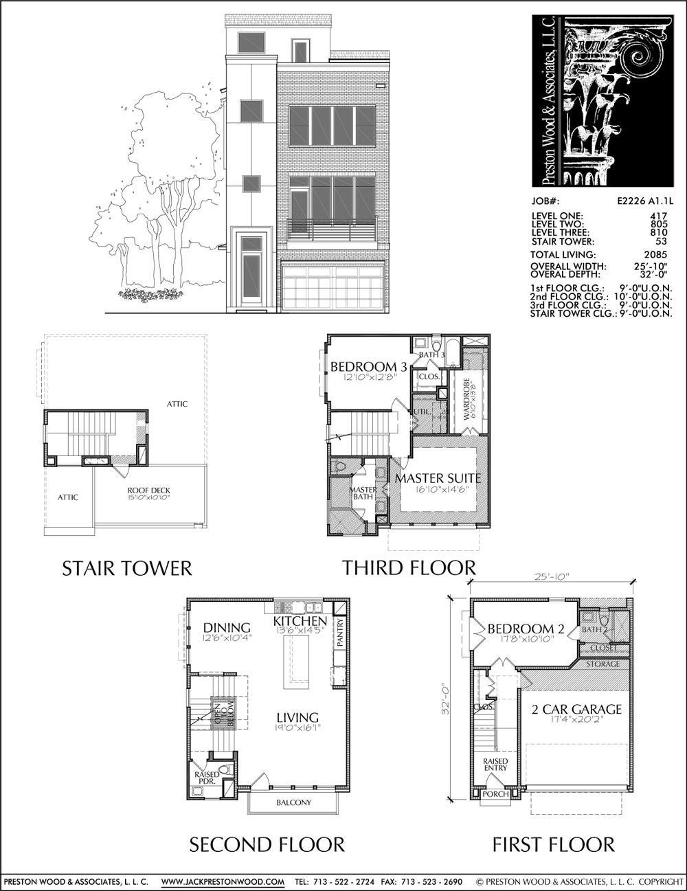 Townhome Plan E2226 A1 1 House layout plans Narrow lot