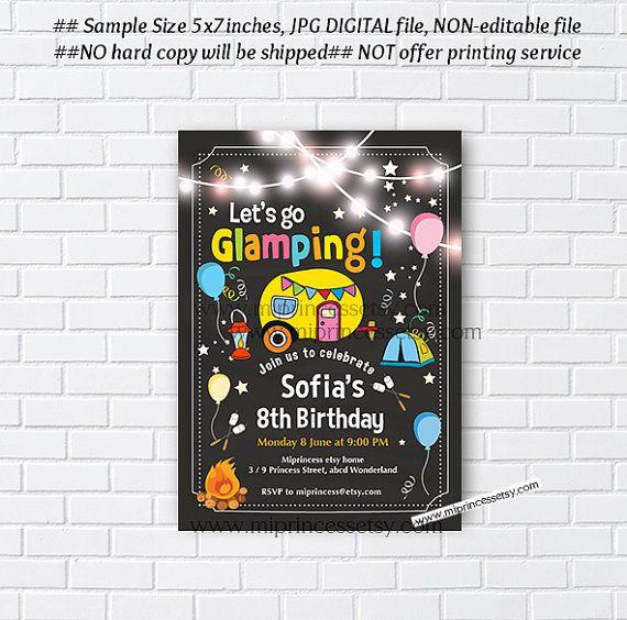 glamping invitation camping birthday bonfire invitation chalkboard