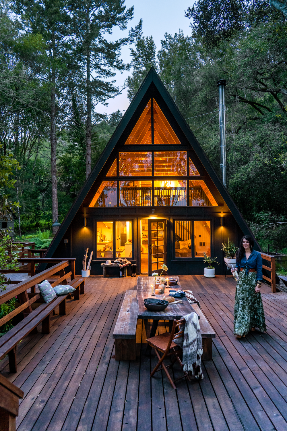 This A-Frame Cabin in West Marin Is a Modern-Boho
