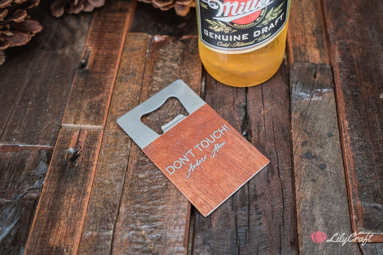 CREDIT CARD SIZED BOTTLE OPENER. PERSONALISED WOODEN BEER