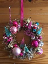 Handmade Vintage Ornament Christmas Wreath Silver Pink Turquoise Kitsch Fabulous