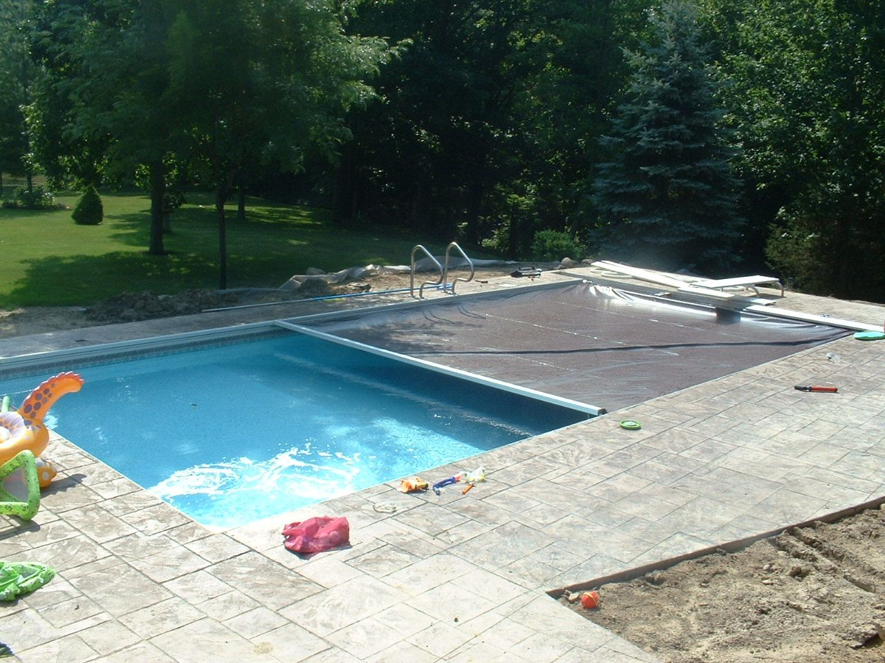 Swiming Pools Swimming Pool Cover With Pool Inflatables
