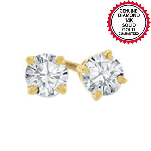 1 4 Ct Natural Diamond Solitaire Stud Earrings In 14k Solid Yellow Gold Starting At 178 Stud Earrings Diamond Earrings Studs Round Diamond Earrings Studs