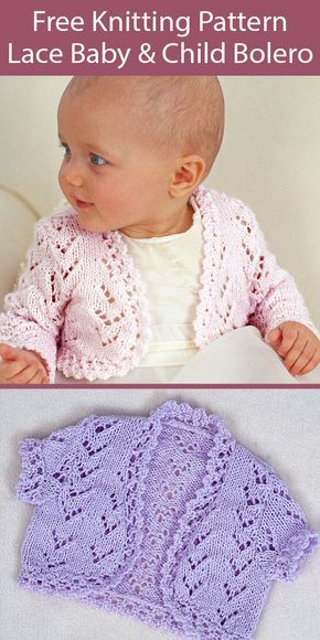 Free Knitting Pattern for Lace Bolero for Babies and ...