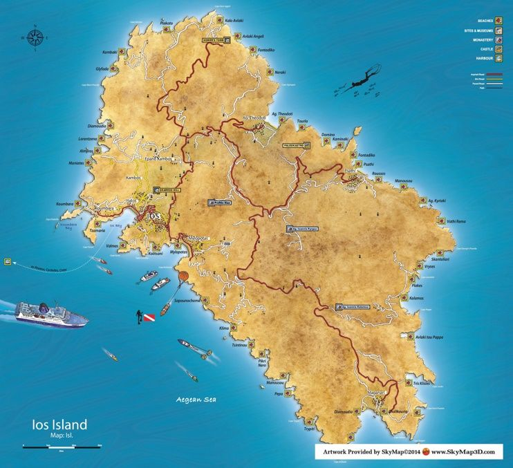 Ios island tourist map Maps Pinterest Tourist map and Greece