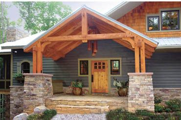 Like the covered entry but want it level without steps for Ranch timber frame plans