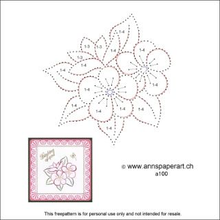 Freepattern Flowers A100 Embroidery Cards Pattern