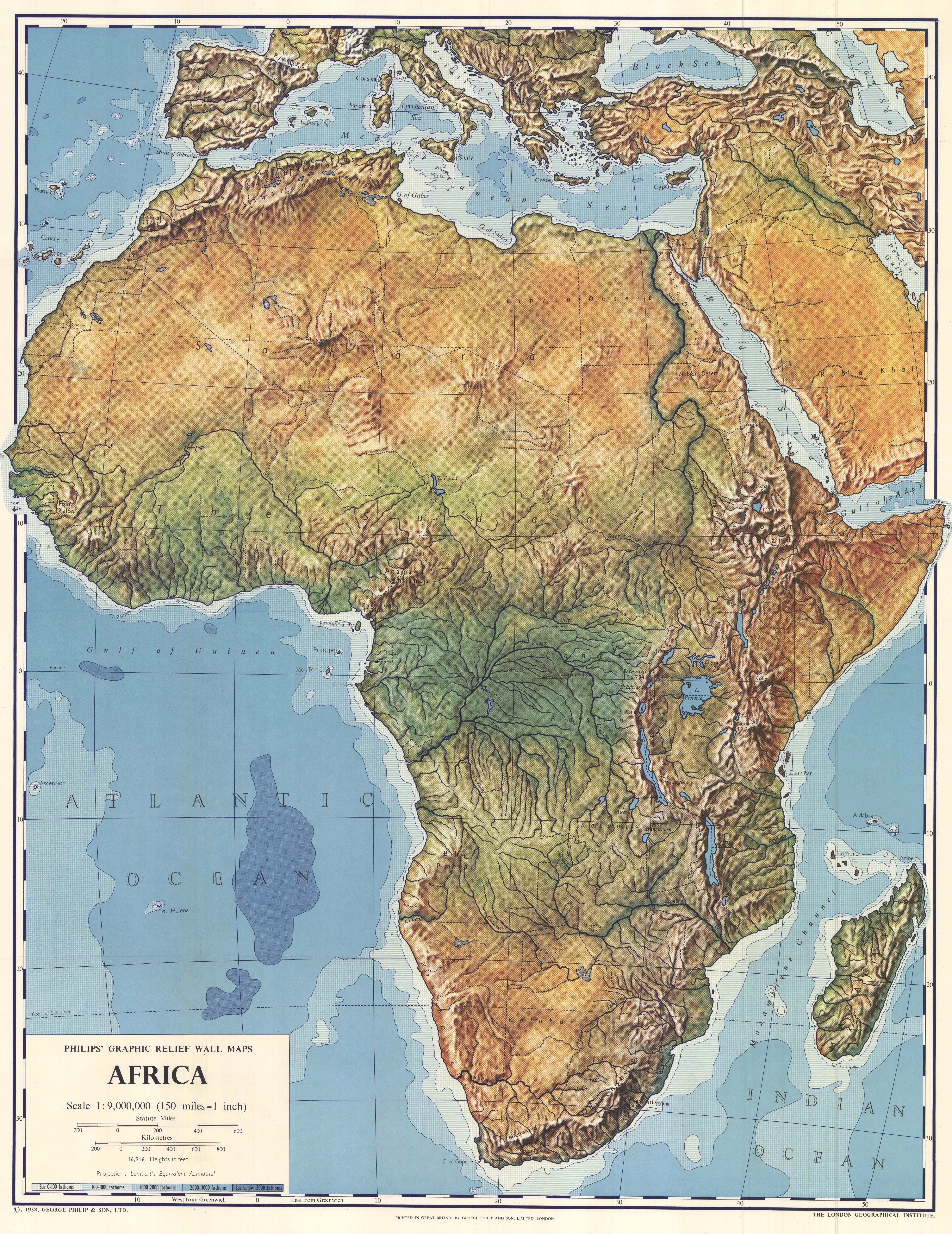 Map Of Africa With Landforms Africa physical map 1958. (4913×6365) | India world map, Map