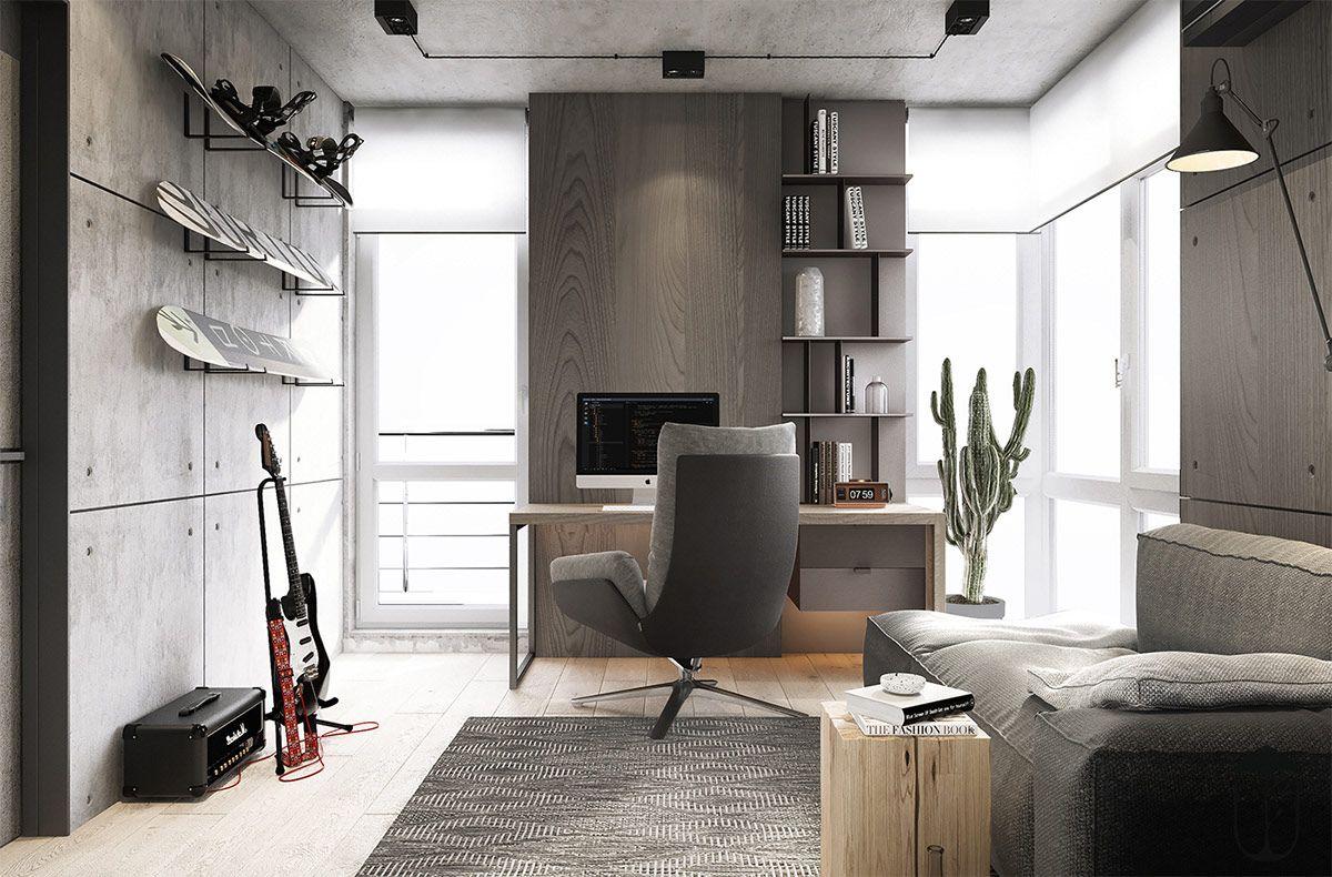 Industrial Style 3 Modern Bachelor Apartment Design Ideas