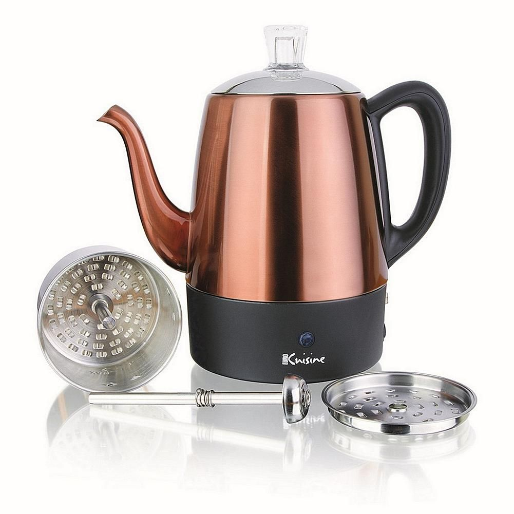 Euro Cuisine Electric Percolator 4 Cup In Copper Finish 9372101 Hsn In 2020 Percolator Coffee Stainless Steel Coffee Stainless Steel Coffee Maker