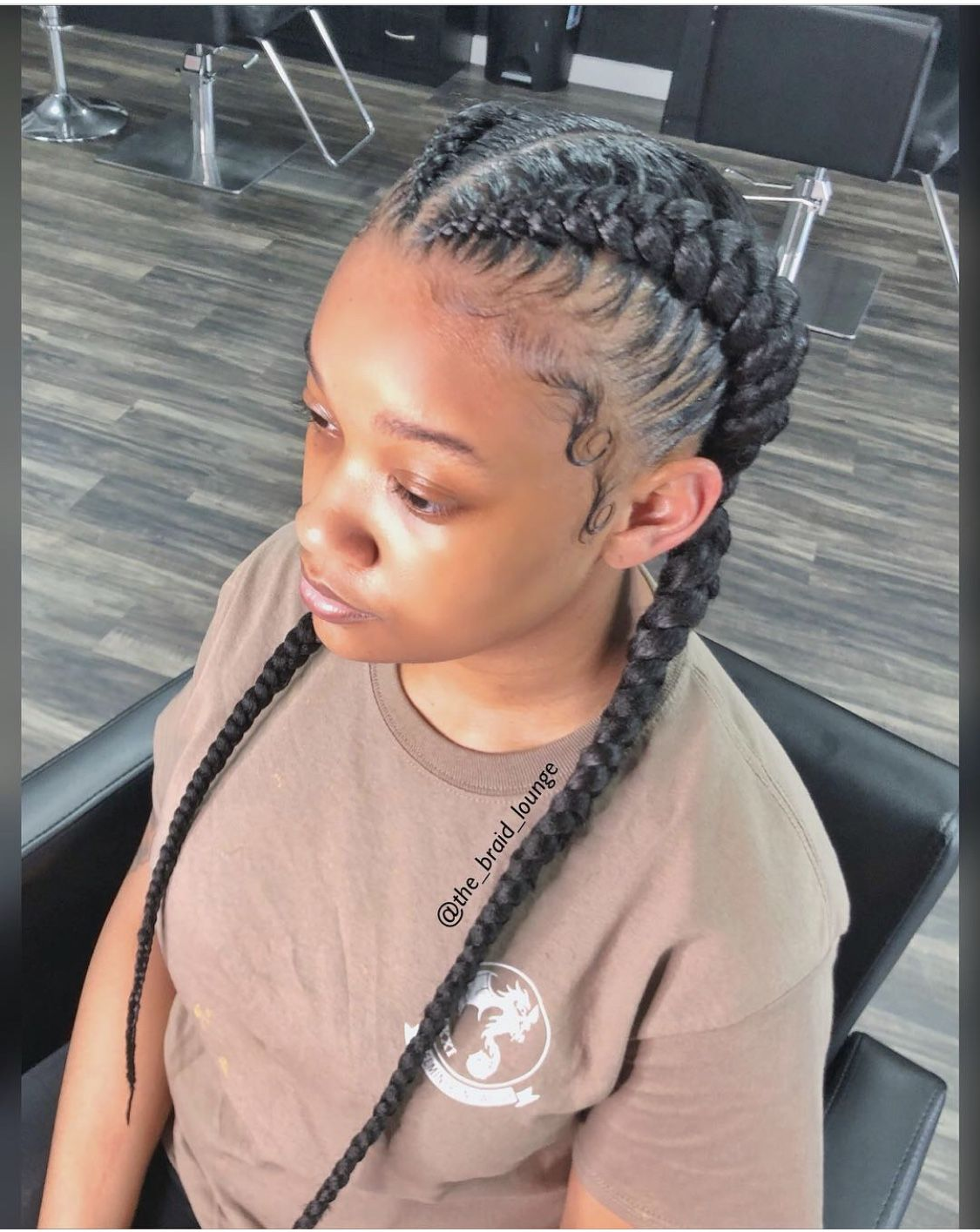 2 Feed In Braids Stitch Braids No Knot Cornrows With Images