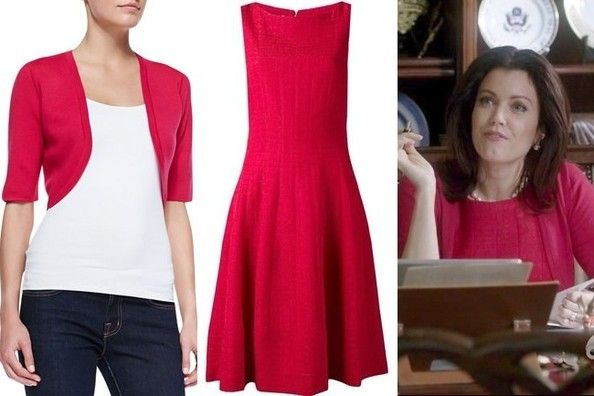 Bellamy Young's Red Shrug and A-Line Dress on 'Scandal'MK
