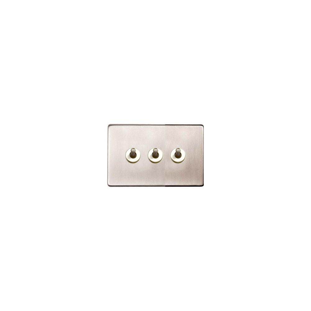 Heritage Brass Studio 3-Gang 2-Way Dolly / Toggle Switch in Satin Nickel