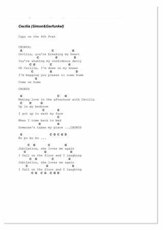 cecilia guitar chords and lyrics - Google Search   Music   Pinterest ...