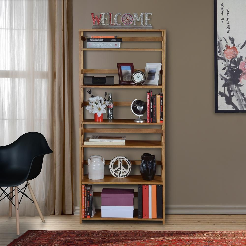 Niche Flip Flop Medium Oak 6 Shelf 30 In Wide Folding Bookcase Ff6730mo Bookcase Shelves Living Room Storage