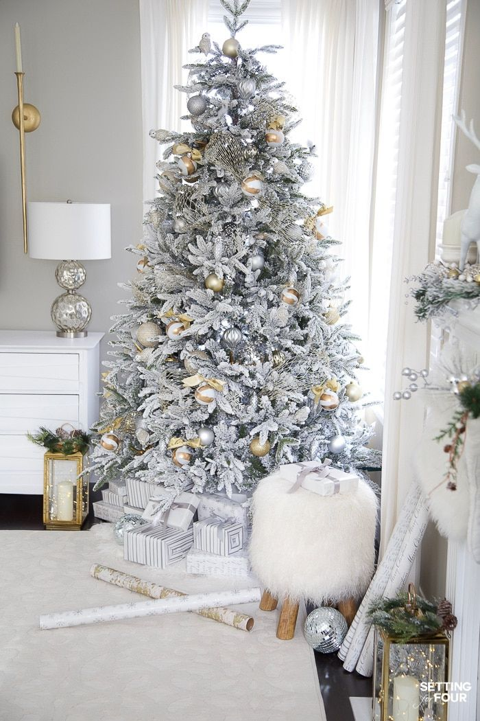 Silver & Gold Flocked Christmas Tree Decorations Gold