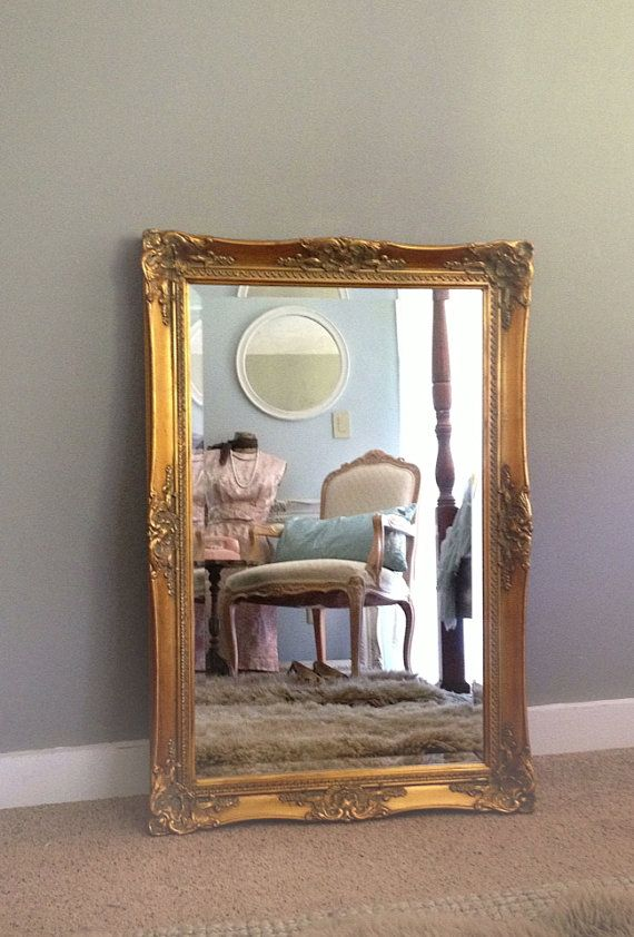 LARGE WALL MIRROR, Gold Ornate Bathroom Living Room Wall ...