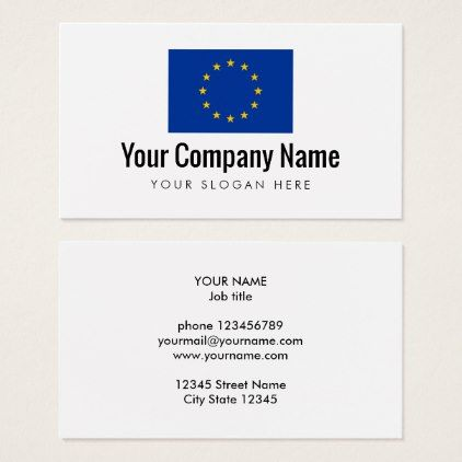 European Union Flag Company Business Card Template Zazzle Com Company Business Cards Business Card Logo Business Card Template