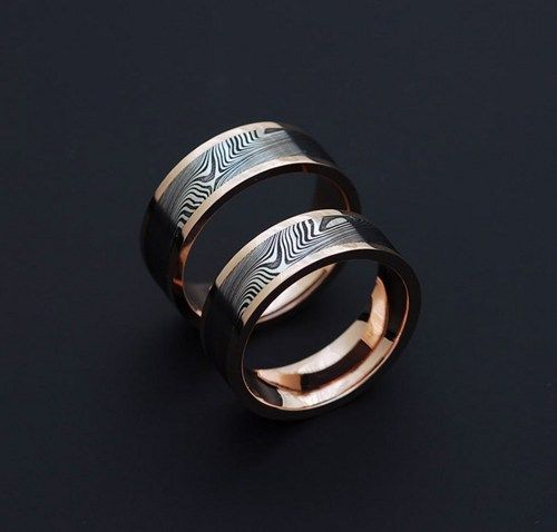Genuine Stainless Damascus Steel And Rose Gold Wedding Band Set PD61