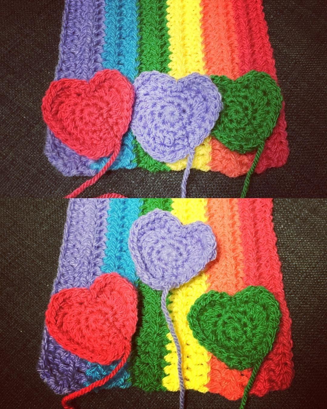 wrappedwithlovebymichelle Brains trust I need your help! Which heart arrangement do you think looks best on the ends of this scarf - top or bottom?? #heart #rainbow #regenbogen #scarf #help #crochet #häkeln #hekel #ganchillo #crochetersofinstagram #crochetcommunity #crochetbetweenworlds #crochetconcupiscence #craftastherapy