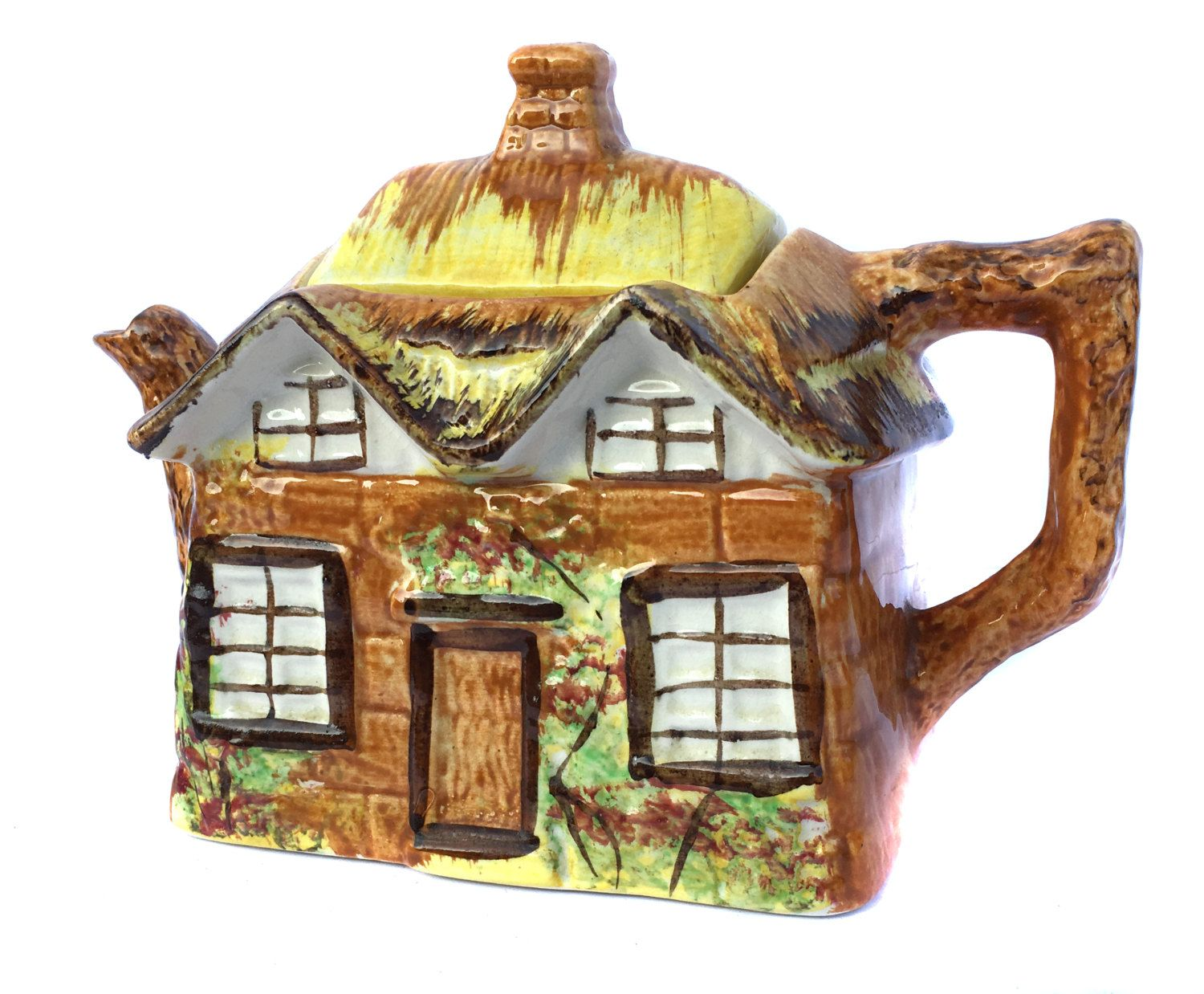 1950s Price Bros Ye Olde Cottage Teapot Rustic Teapot Primitive Teapot Vintage Teapot English Thatched Cottage Country Kitchen Retro Kitchen By Biminicricket On