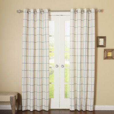 "Best Home Fashion, Inc. Grid Stitched Linen Blend Grommet Top Curtain Panels Color: Blue, Size: 54"" W x 96"" L"