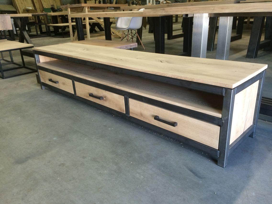 Tv meubel eiken staal 4cm 220x50cm u20ac 595 in iedere gewenste maat
