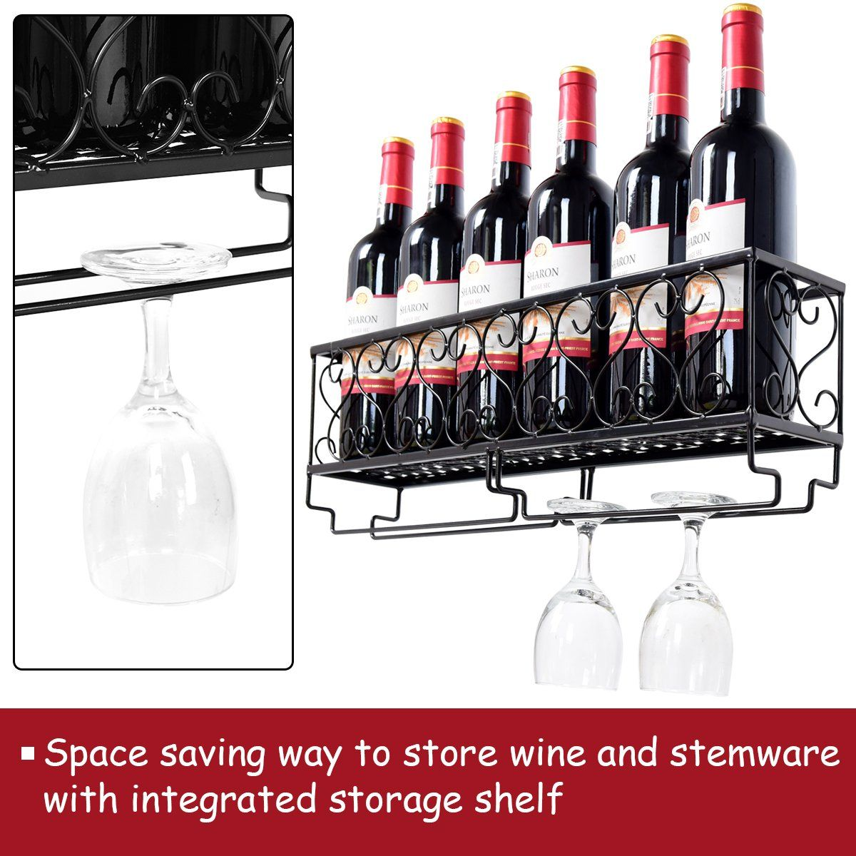 Decorative Metal Wine Racks Giantex Wall Mounted Wine Rack Metal Wine Bottle Shelf W Glass