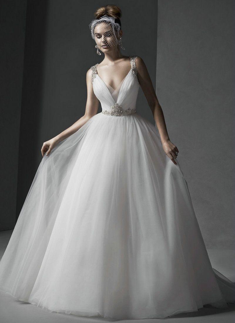 tulle v neckline wedding dress - Google Search