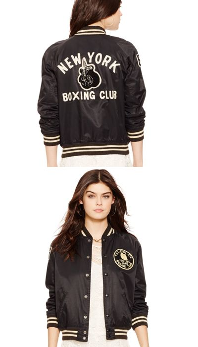 Polo Ralph Lauren Women s Reversible Varsity Jacket  This sporty satin  jacket reverses to a rugged twill side with a