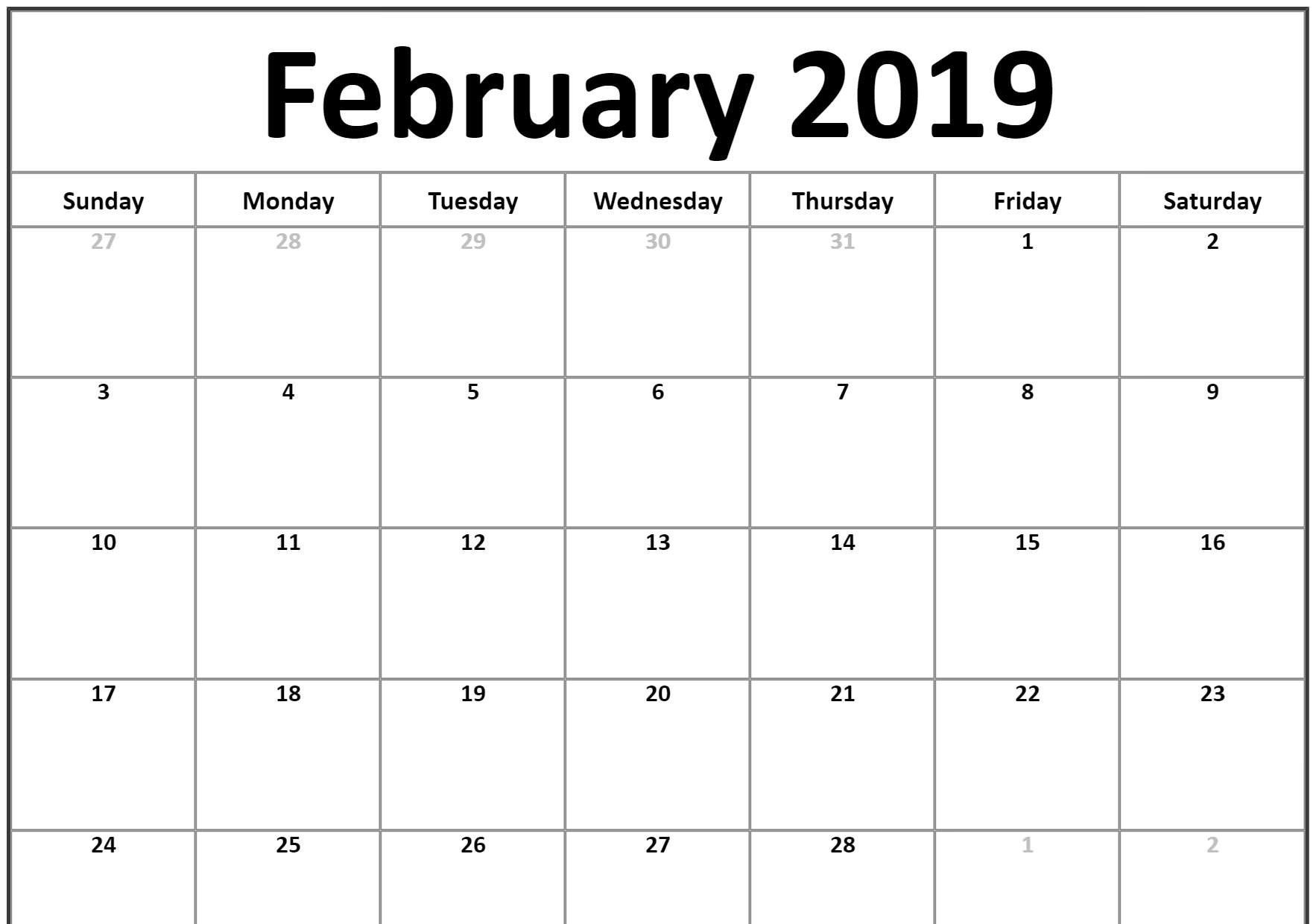 February Calendar Templates 2019 Small 2019 February Printable calendar #landscape | February 2019