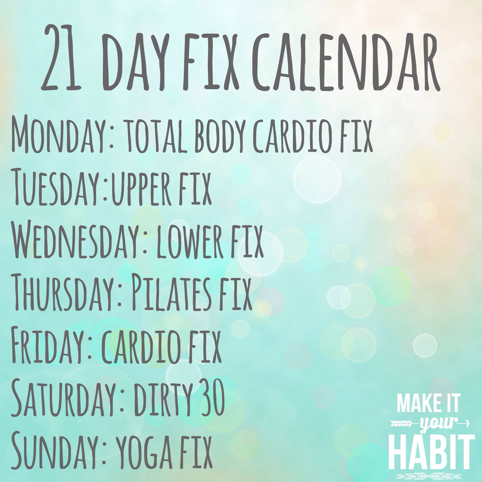 Douchebag Gym Quotes: 21 Day Fix Workout Schedule! #GetYourFix #21DFX