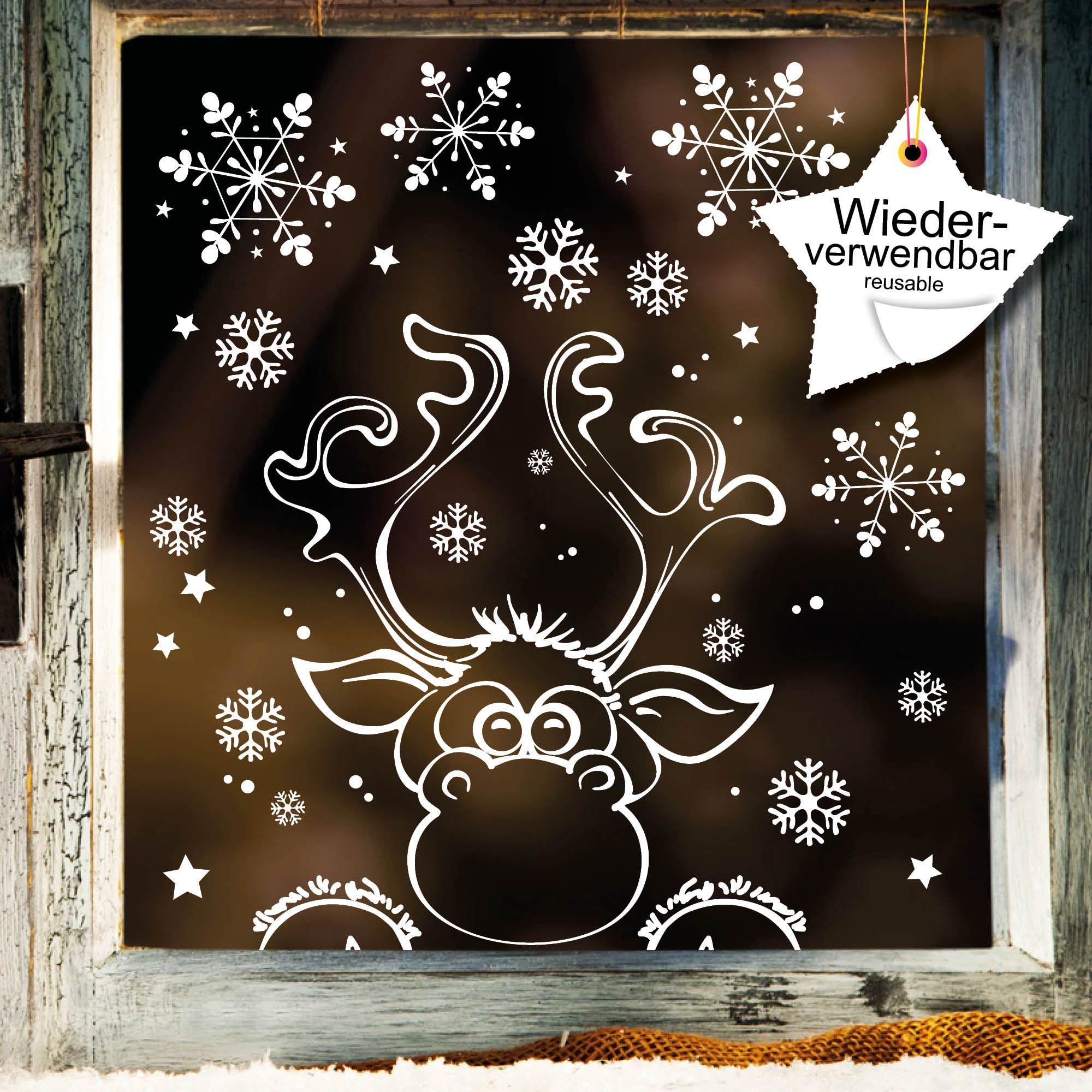Ähnliche Artikel wie Fensterbild Weihnachten Elch Fensteraufkleber Schneeflocken WIEDERVERWENDBAR auf Etsy