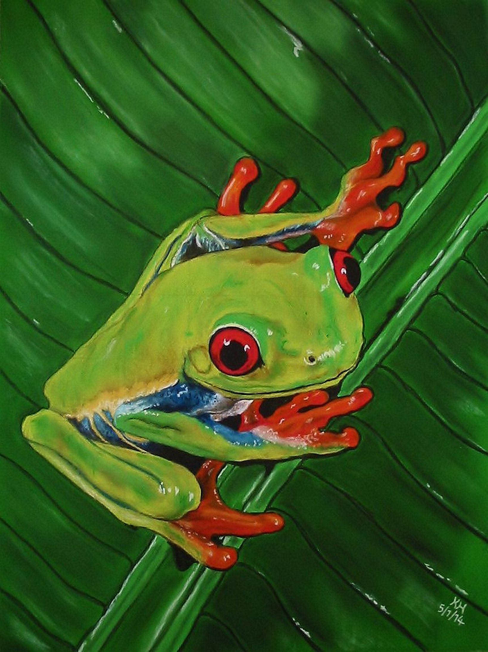 My green tree frog which I very much enjoyed creating with pastels on pastelmat :)