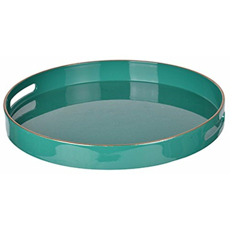 Benzara mimosa round tray with cutout handles green