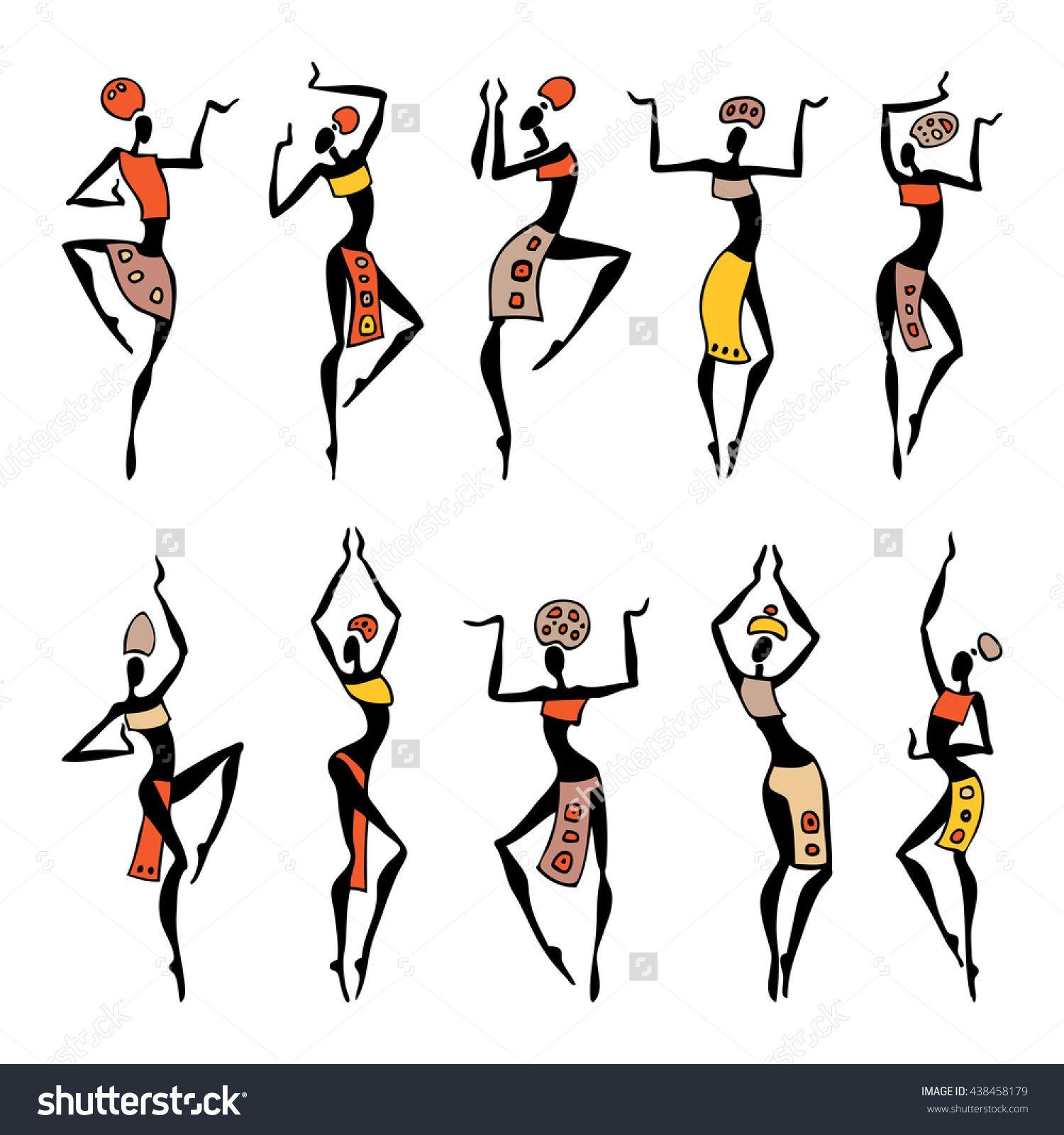 Dancing silhouettes oriental dancer beautiful women vector illustration african art - Dessin africaine ...