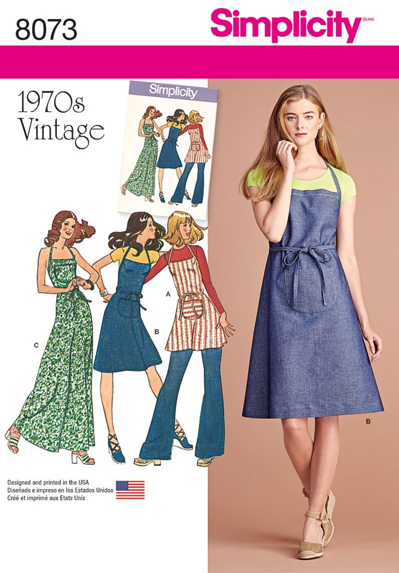 Purchase Simplicity 8073 Vintage 1970's Apron Dress and read its pattern reviews. Find other Dresses, sewing patterns.