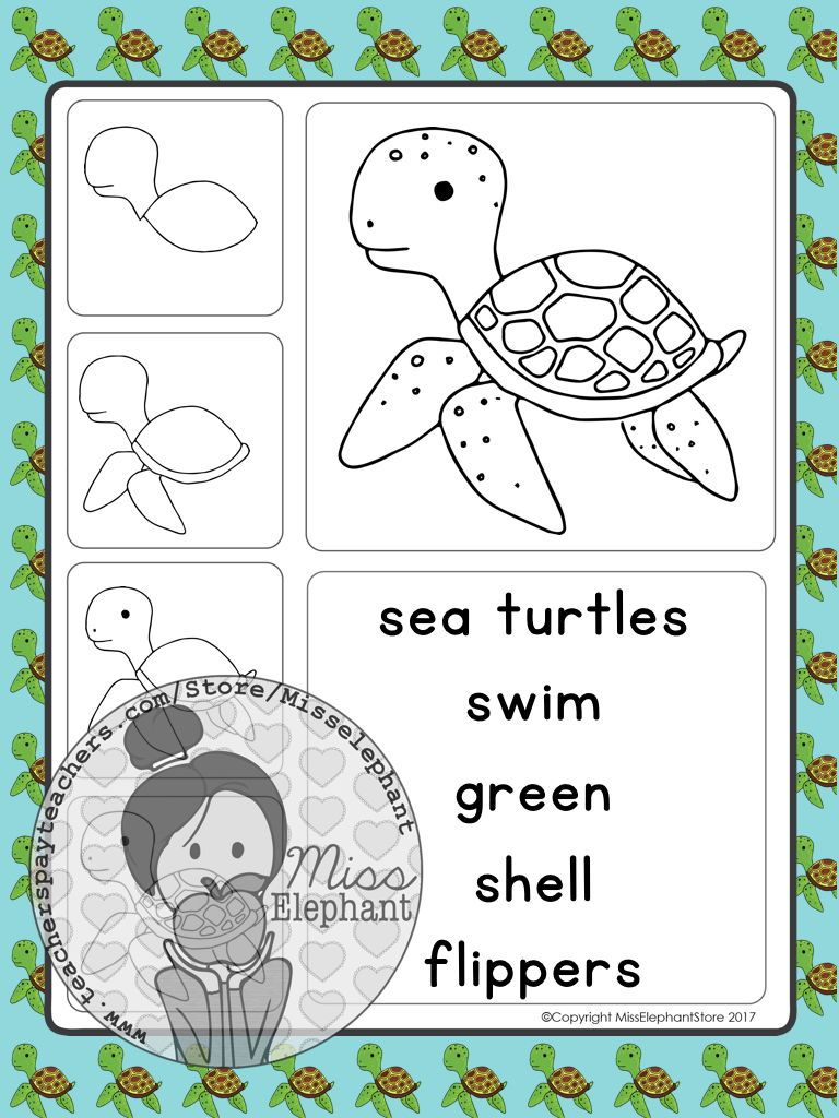 Sea Turtle Writing Activity Ocean Writing Prompts Facts About Sea Creatures For Elementary School Writing Center Activities Writing Center Drawing Activities [ 1024 x 768 Pixel ]