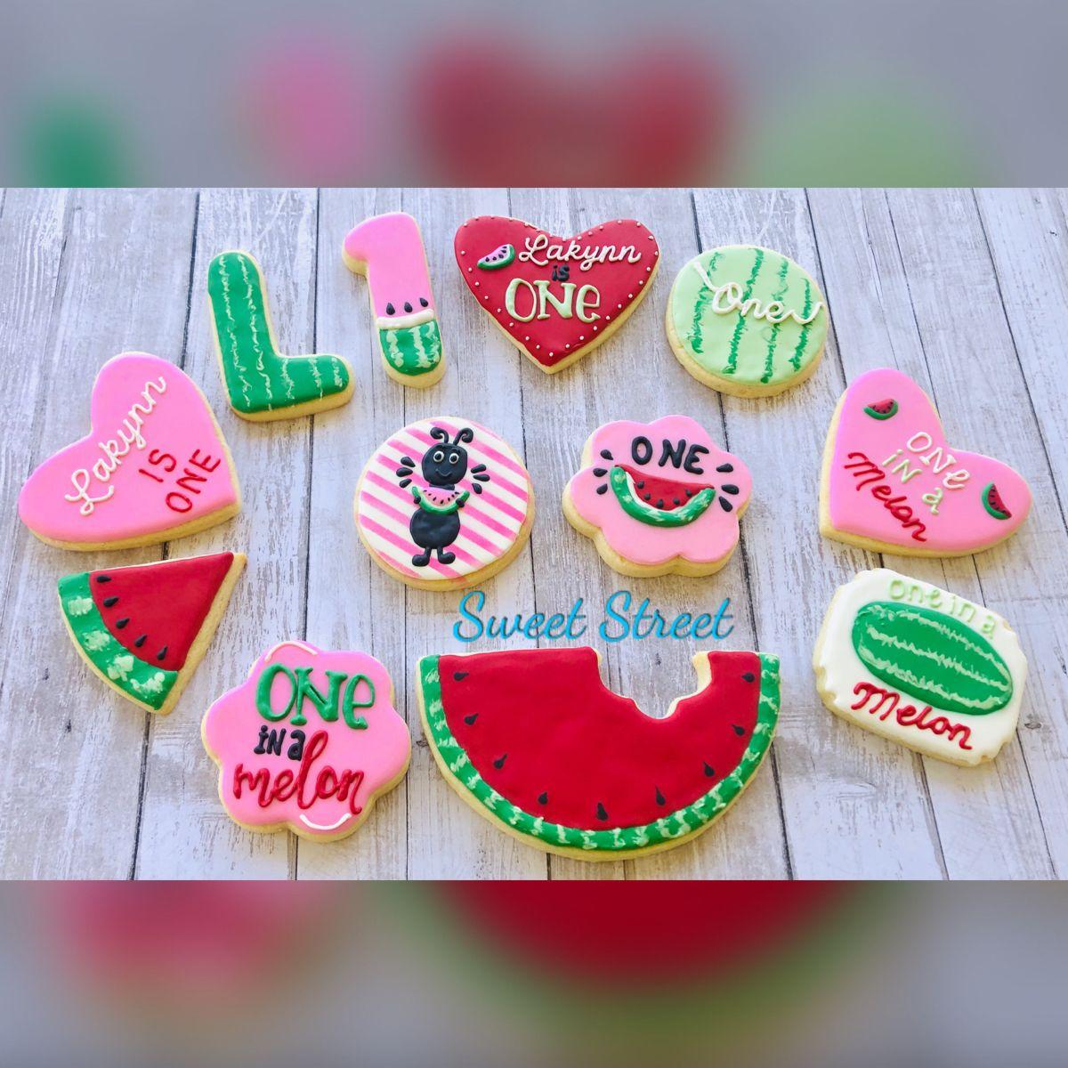#firstbirthdaygirl #oneinamelon #watermelonsugarcookies #watermelon #decoratedsugarcookies #sugarcookies One in a melon First birthday Watermelon theme birthday party