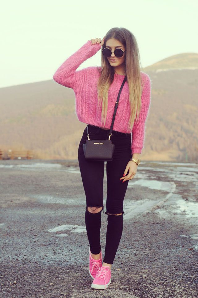 best cheap 93abd 39bc7 OUTFIT DEL DÍA  Sweet pink sweater outfit, Look dulce con sueter r.
