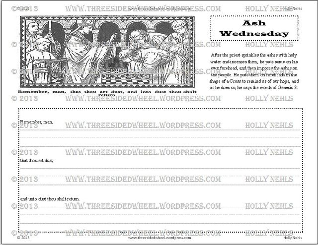 Ash Wednesday Copywork Free Printable Ash Wednesday