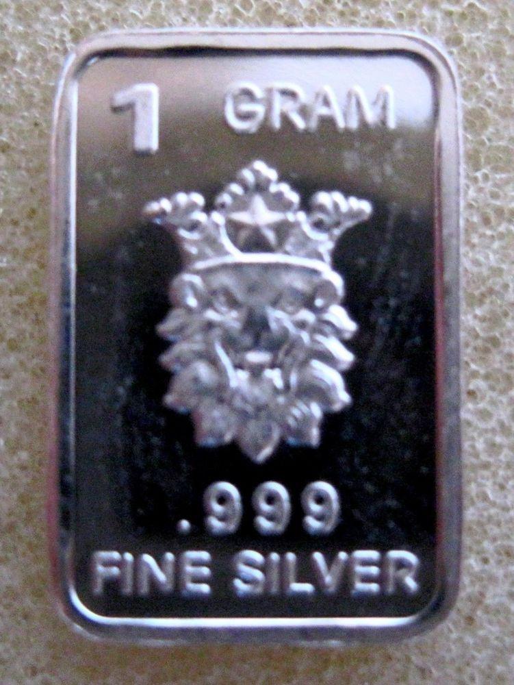 1 Gram Gr G 999 Fine Pure Solid Silver Bullion Bar The Lion Of Judah Silver Bullion Silver Bars Silver
