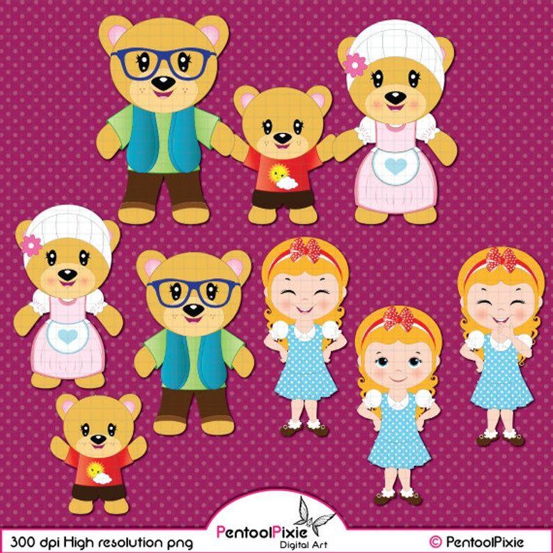 Goldilocks Clipart Drei Baren Clipart Geschichte Marchen Etsy Bear Clipart Goldilocks And The Three Bears Cute Birds