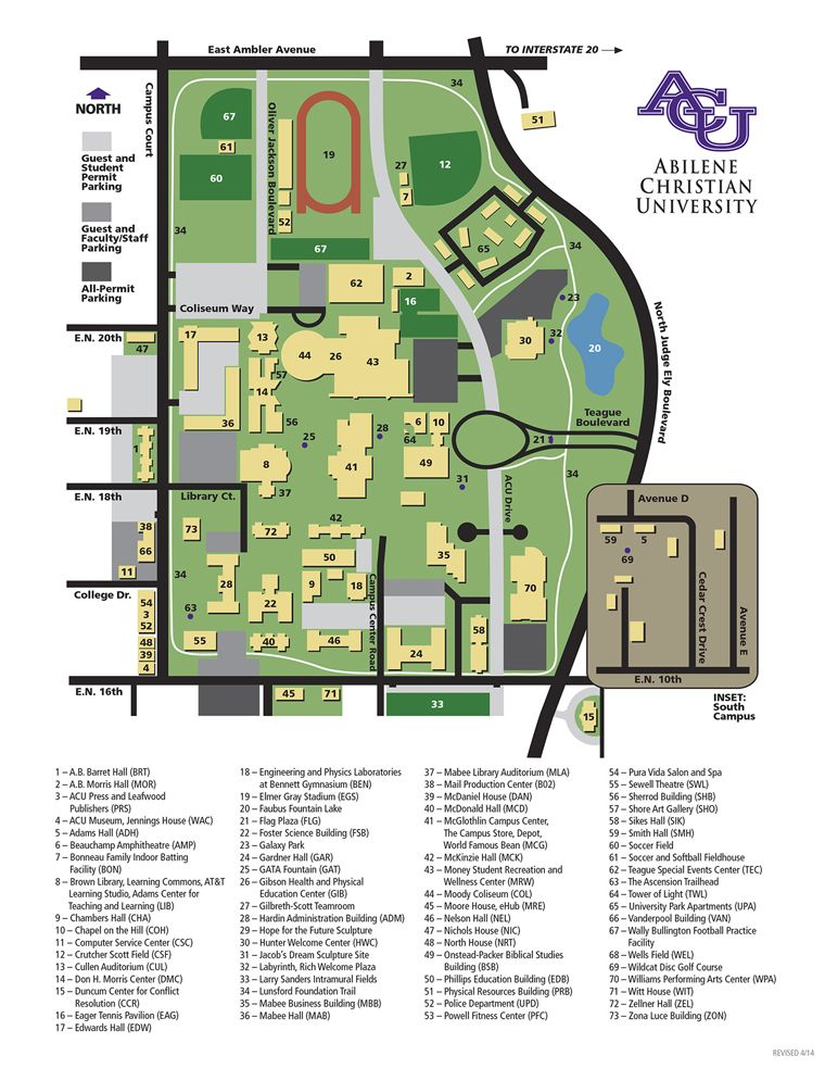Under Armour Campus Map.Campus Map Abilene Christian University Texas Our Texas