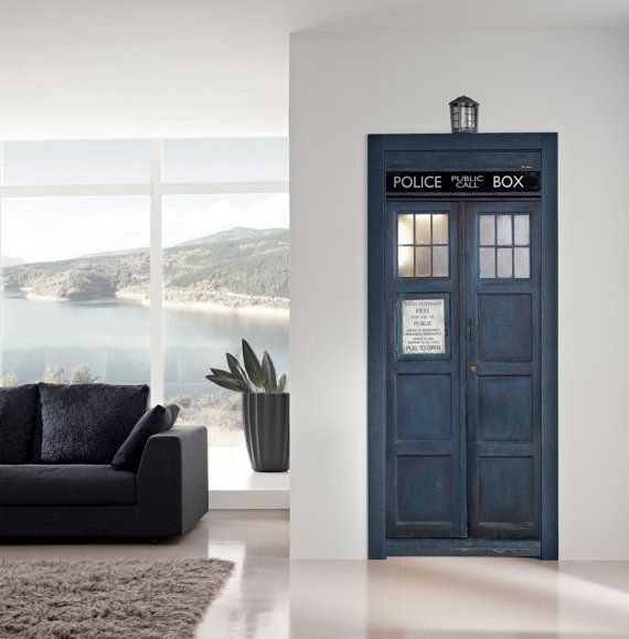 Door Sticker POLICE BOX Vinyl Decal Poster Mural Dr Who Tardis Television  Programme Photo Door Wrap
