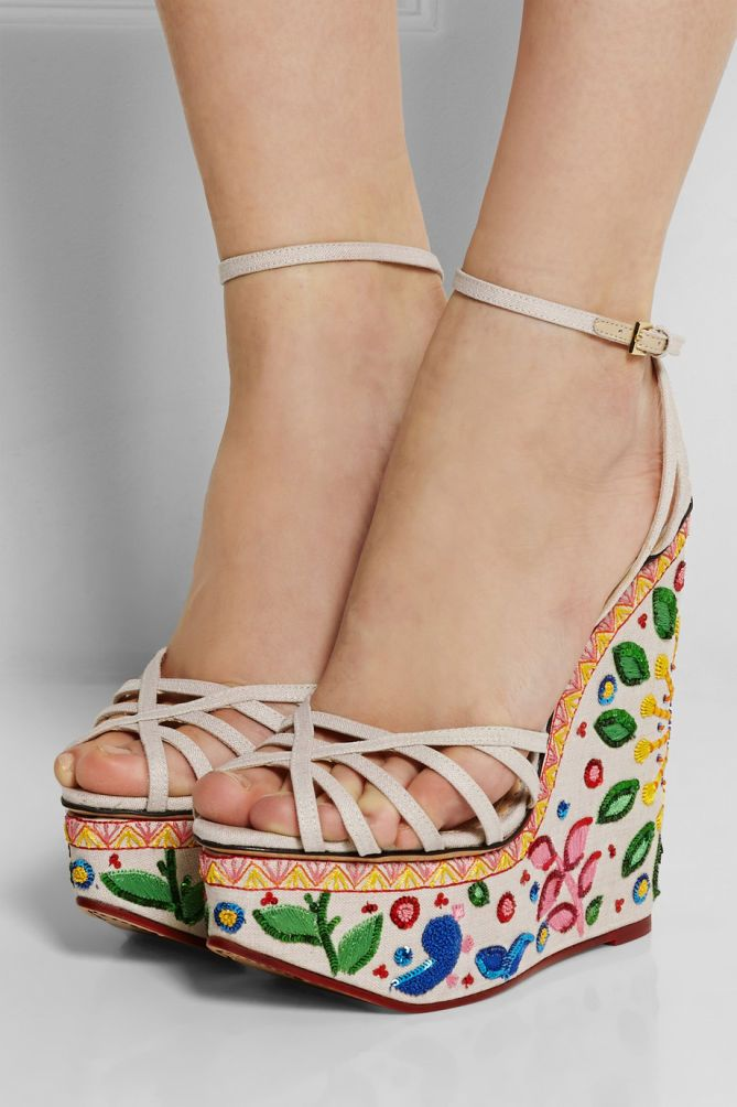 CHARLOTTE OLYMPIA Celebration Meredith Embellished Linen Sandals | Buy ➜ http://shoespost.com/charlotte-olympia-celebration-meredith-embellished-linen-sandals/