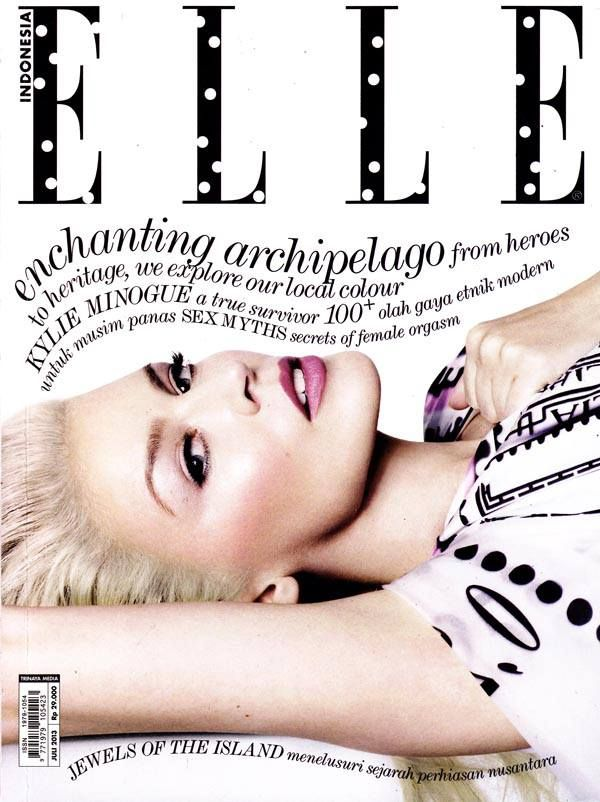 I love the typography used for the name as it's normally just black rather than having the polka dot effect. I also like the use of the text beneath this as it's not presented in the usual magazine style way as it is wavy and goes beside the picture shot of Kylie Minogue. It's a different way of portraying a front cover but one that still looks appealing and attracts its audience.