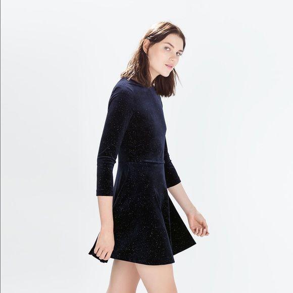 Zara velvet dress Brand new with tag. Navy blue. Shiny Zara Dresses
